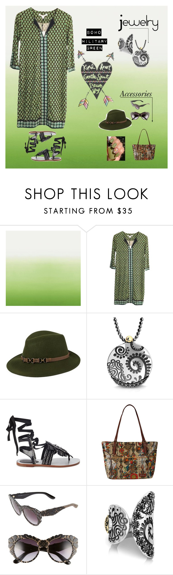 """""""Boho Army Green Style"""" by im-karla-with-a-k ❤ liked on Polyvore featuring moda, Designers Guild, Diane Von Furstenberg, Kathy Jeanne, Bohemme, Daniele Michetti, Sakroots y Dolce&Gabbana"""