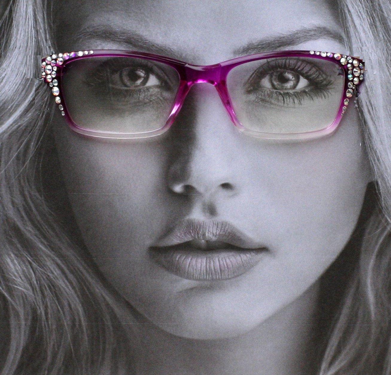 Fuchsia Rectangular Style, Clear Lens Reader Style Glasses, Fashion ...