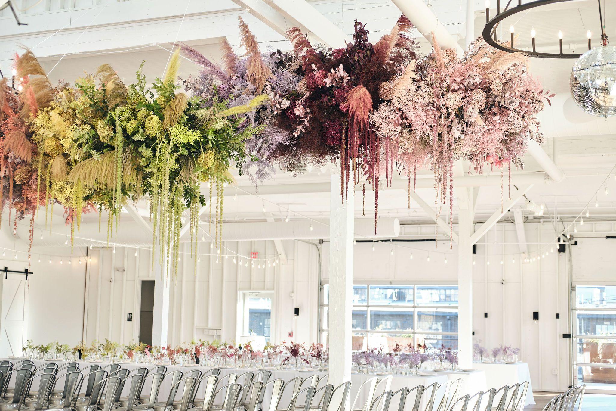 Rainbow Floral Installation Wedding Ceiling Decorations Hanging Wedding Decorations Hanging Flower Arrangements