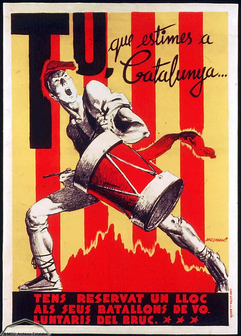 Tu, que estimes a Catalunya ( You who consider youfself to be Catalan) by José Bardasano, bewteen 1936 and 1939. Issyed by Gráficas Ultra, S.A.