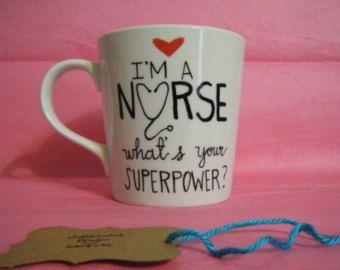 Nurse Coffee Mug - Ceramic Coffee Mug - Handpainted-16 oz Personalized Nurse Gift -