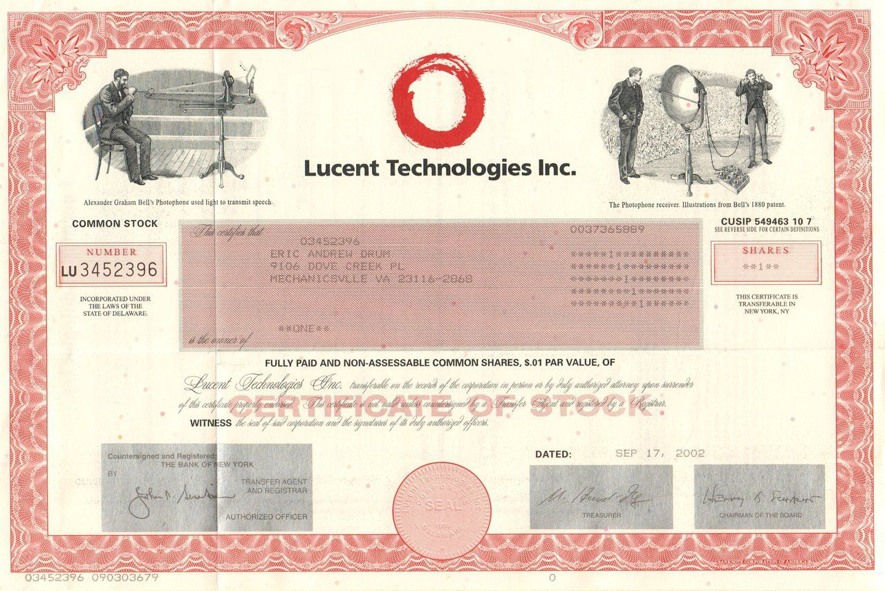 Lucent Technologies 2002 Telecom Equipment Stock Certificates Buddhist Symbols Technology