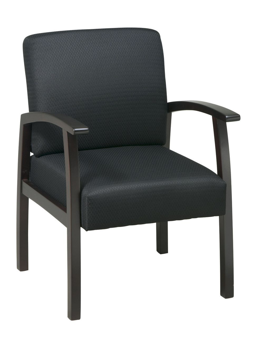 Office star deluxe espresso finish guest chair black triangle fabric wd1358 363