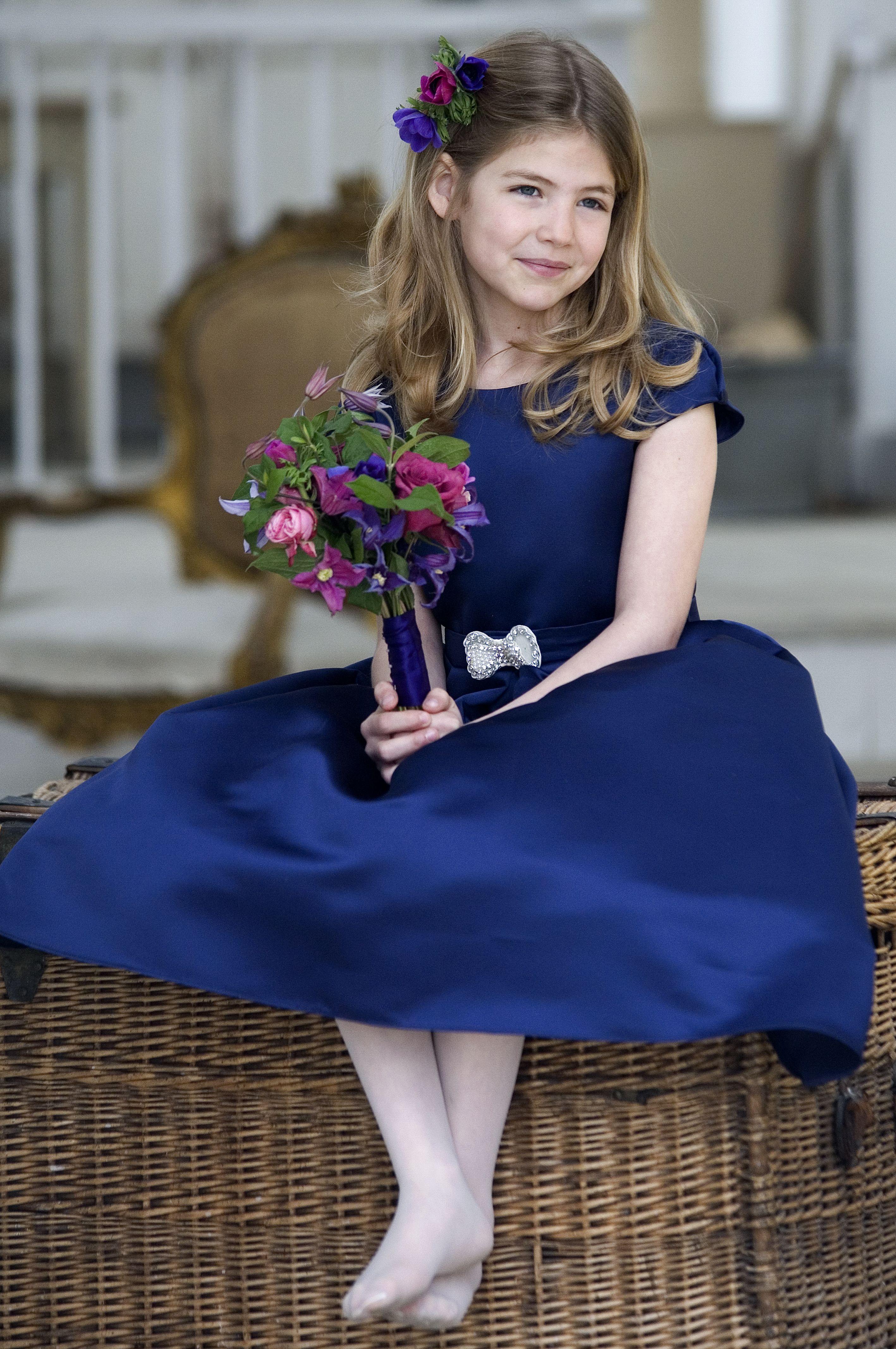 Blue satin flower girl or bridesmaid dress s style by designer