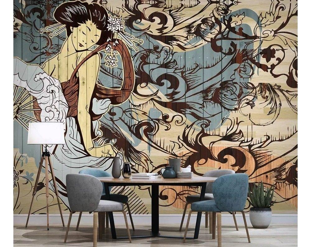 Retro Japanese Artistic Girl Wallpaper Mural Painting Wallpaper Mural Wallpaper Girls Wall Mural