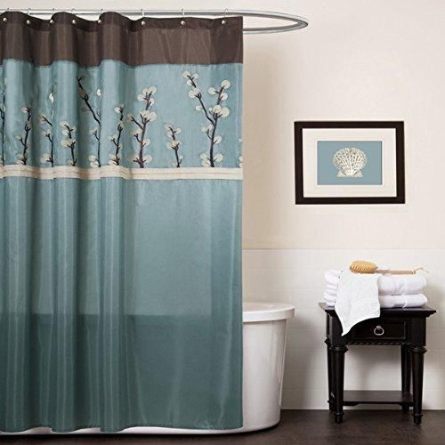 Aqua Blue Brown Graphical Nature Themed Shower Curtain Polyester Lightweight Detailed Winter Tree Color Block Printed Abstract Floral Pattern Classic
