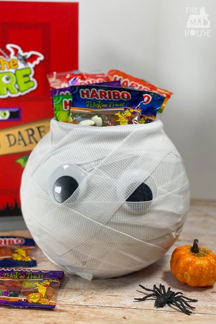 DIY Halloween Mummy Trick or Treat Bowl Halloween diy