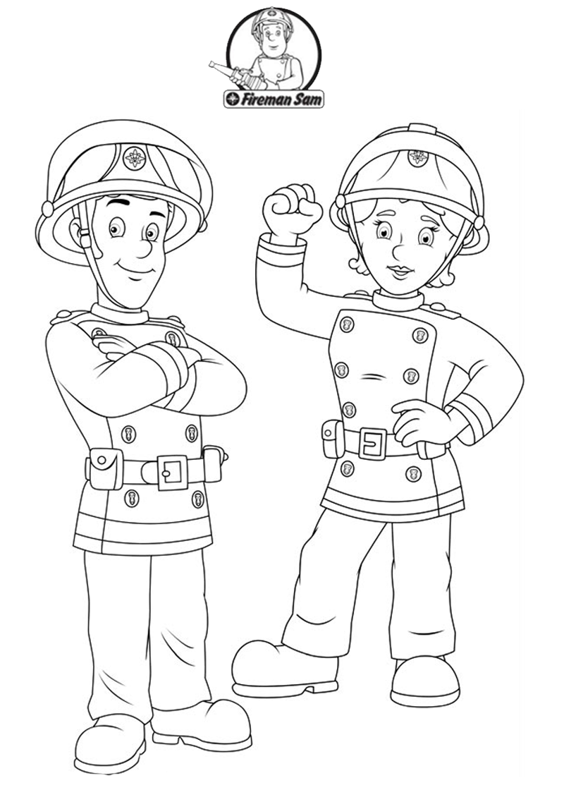 fireman sam with his friend fireman sam coloring pages
