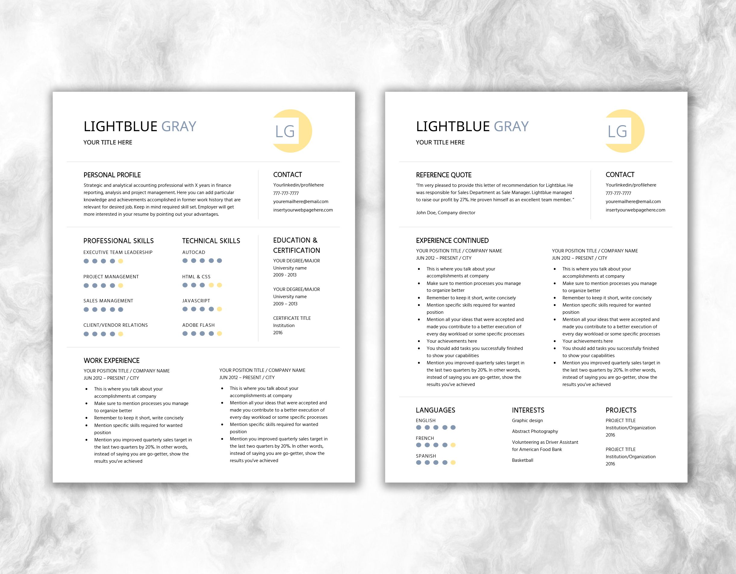Download Resume Printable Template + Resume Writing Tips + Cover ...