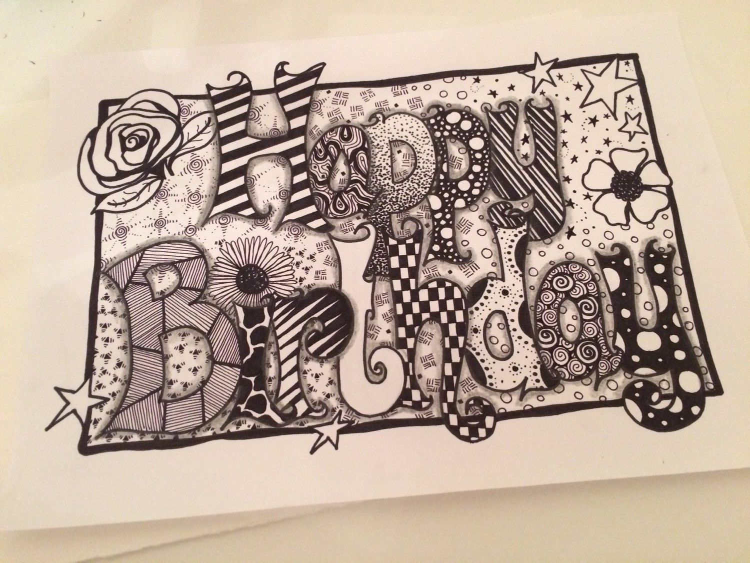 Happy birthday zentangle card by forevertangles on etsy Дудлинг