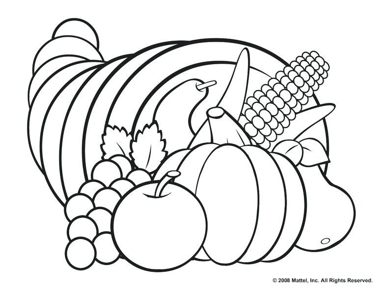 Thanksgiving Coloring Pages For Kids Feat Cornucopia Coloring