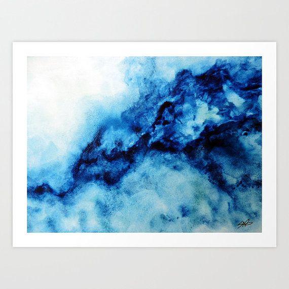 blue watercolor print wall