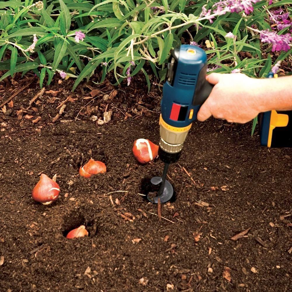 Garden Spiral Hole Drill Planter Planting Bulbs Garden Tools