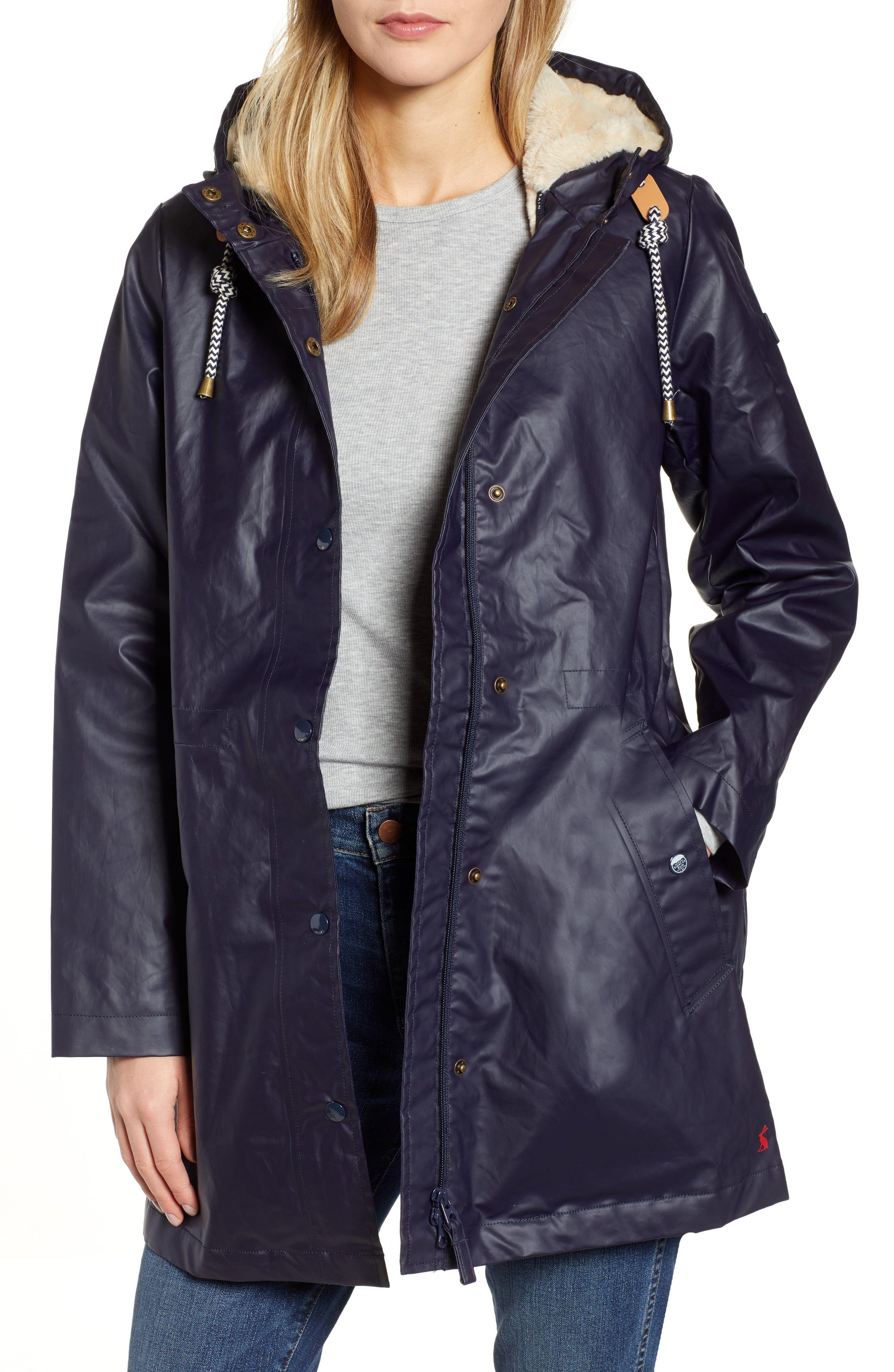 Joules Women/'s Rainaway Waterproof Coat Half Teddy Fur Lining Large Pockets