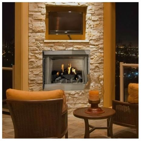 Carol Rose Outdoor Traditional Stainless Steel Gas Fireplace 36 Inch