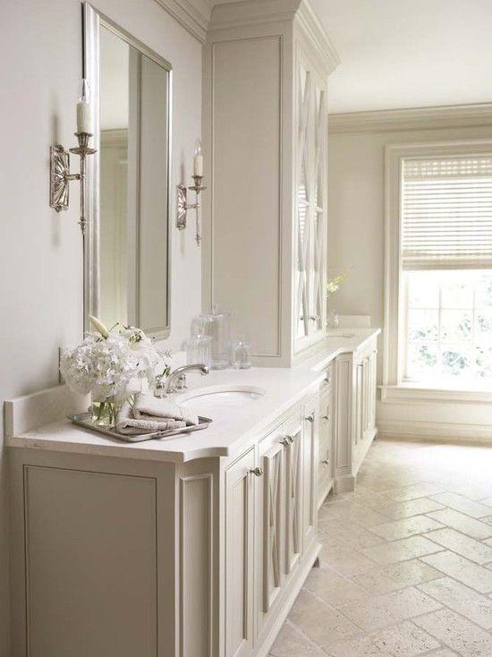 Travertine Floors And Crema Marfil Countertop Bathrooms Remodel