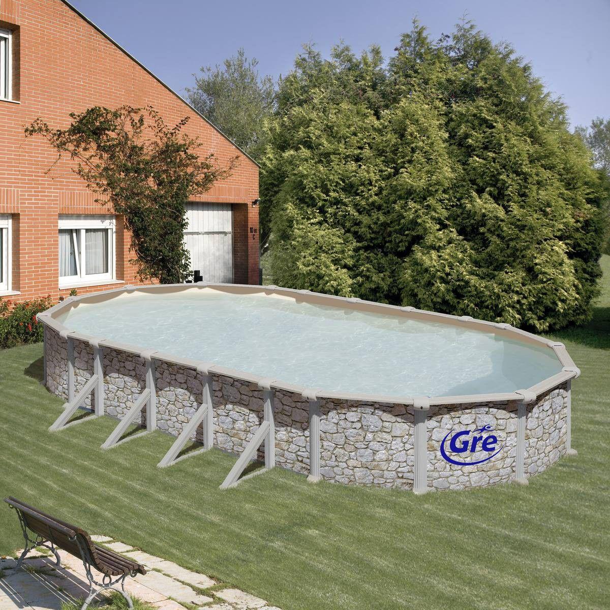 Piscine En Pierre Hors Sol piscine gre d730x375 h132 hors sol acier aspect pierre ovale