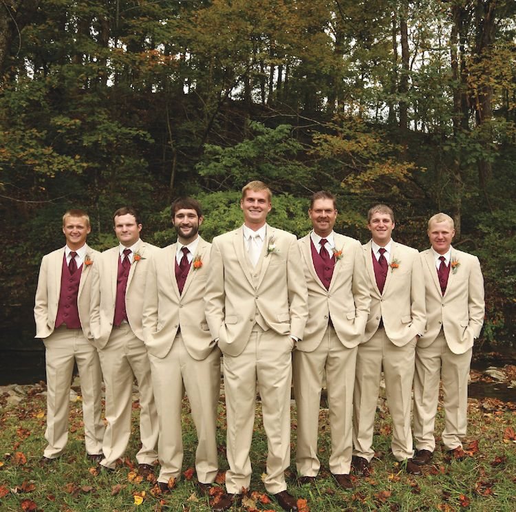 Groom And Groomsmen In Khaki Suits With Deep Red Vests See More From This Nashville Wedding Inspiration A Fall Theme By Cjones8790