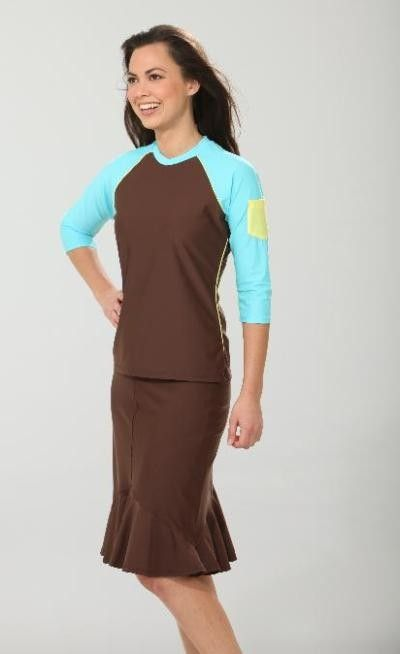 1659c290759bb Long Brown Swim Skirt #Modest #Swimwear #Skirt,would I look silly swimming  in this outfit !!!