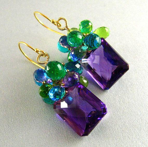 Color amatista, peridoto y cuarzo piedras preciosas Lux pendientes