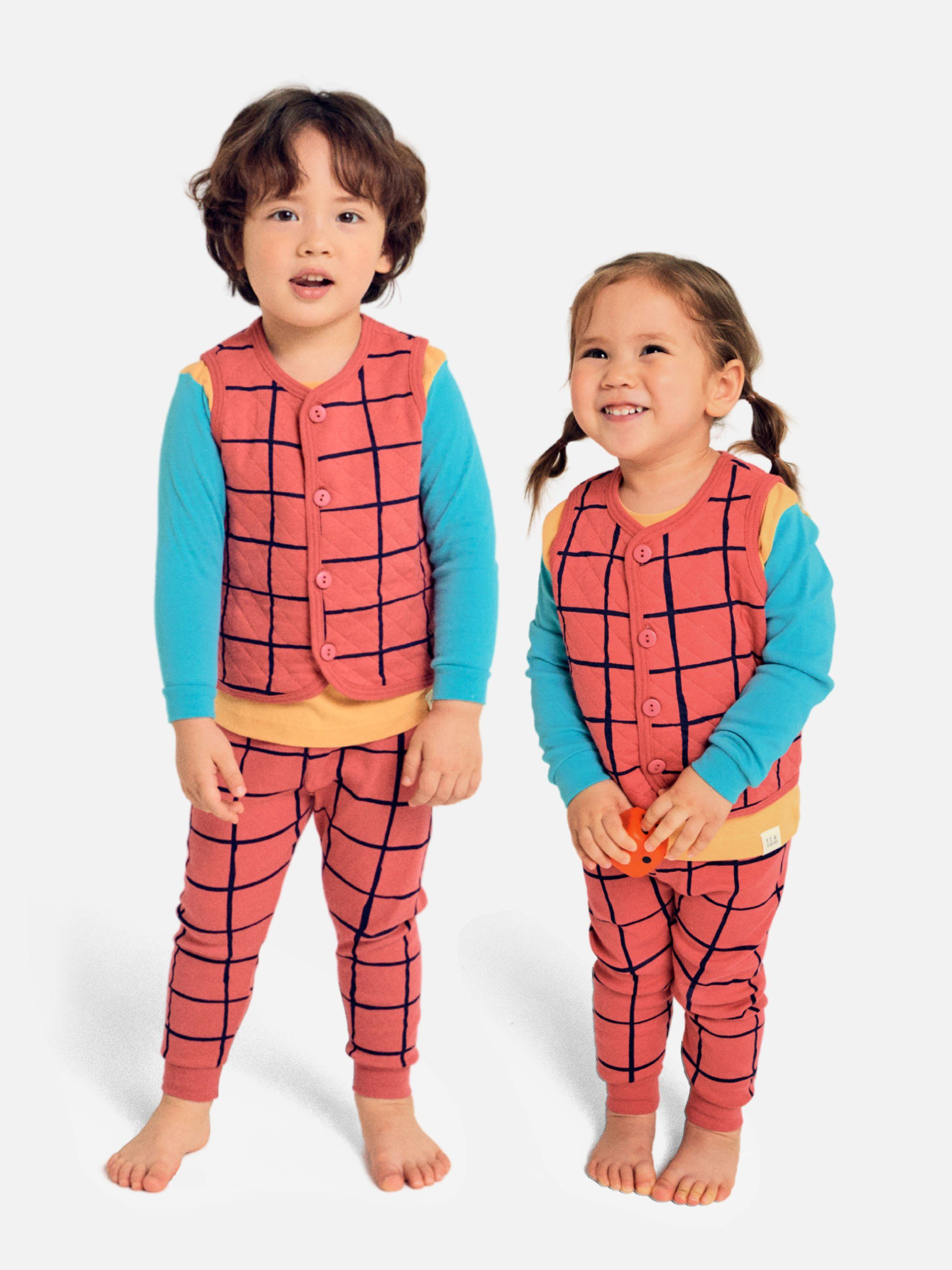 Brick Red Checkered Organic Sleep Vest