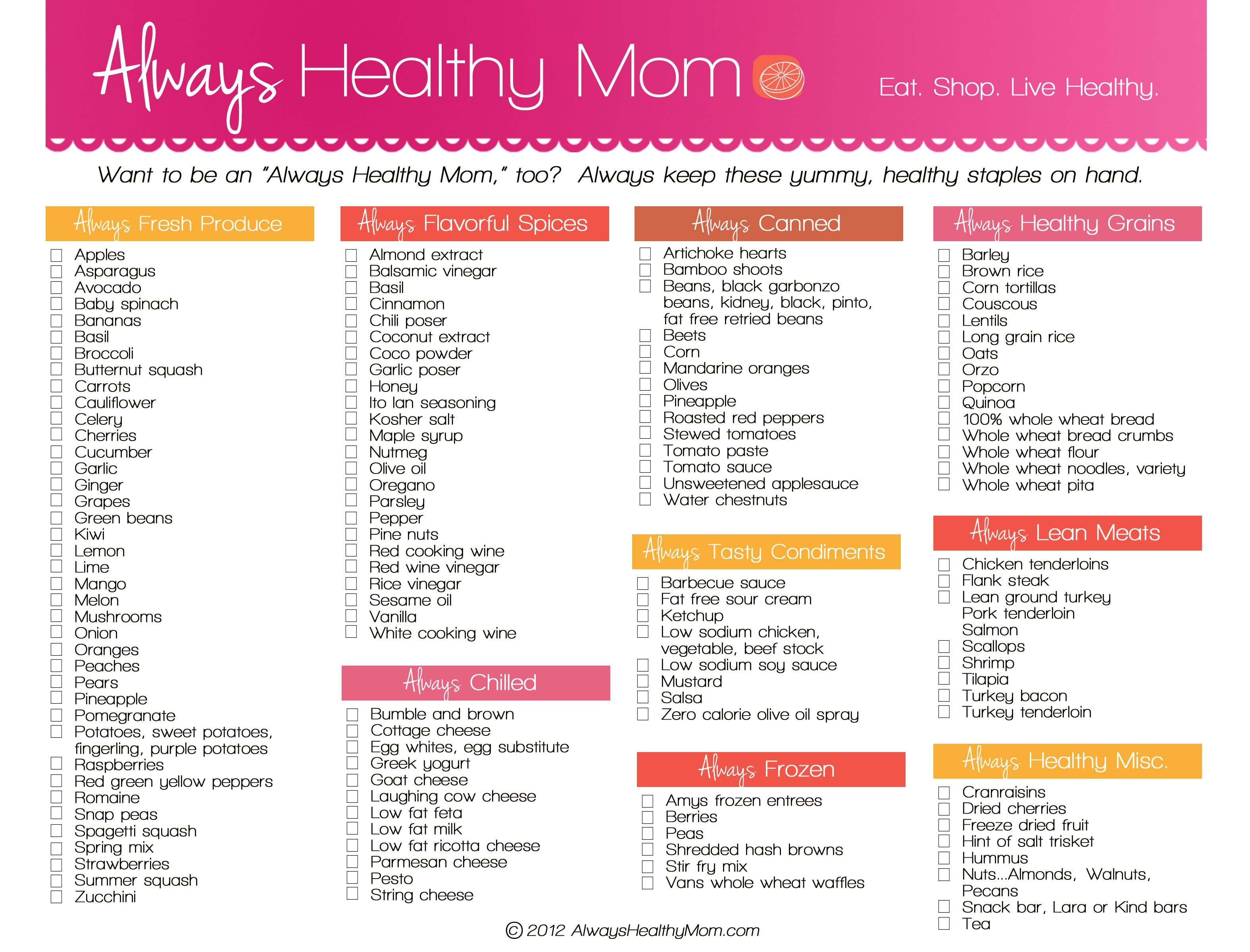 Always Healthy Mom BShopping ListB Jpg  Food In The House