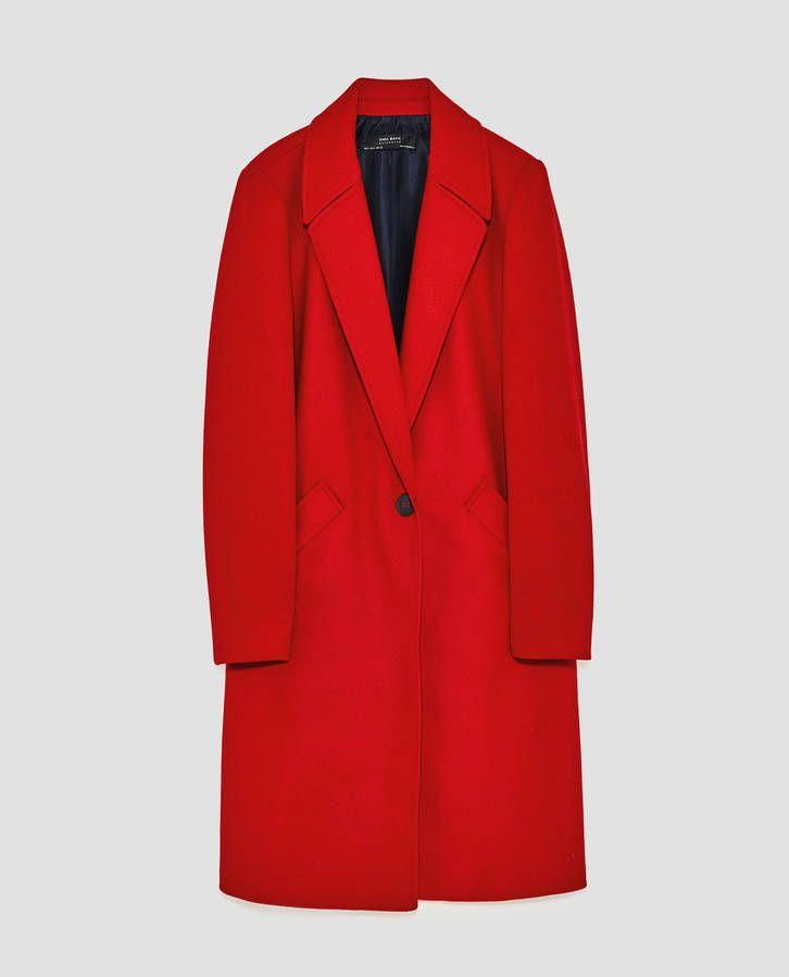 manteau rouge court zara