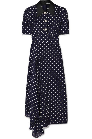 d1fbbb4f Alessandra Rich - Crystal-embellished Polka-dot Silk-georgette Maxi Dress -  Navy