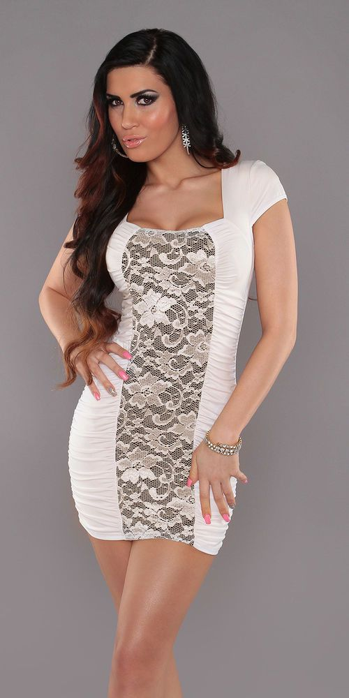 SEXY WOMENS OFF WHITE LACE DRESS WITH FLORAL PATTERN PARTY MINI DRESS SIZE 10 12 | eBay