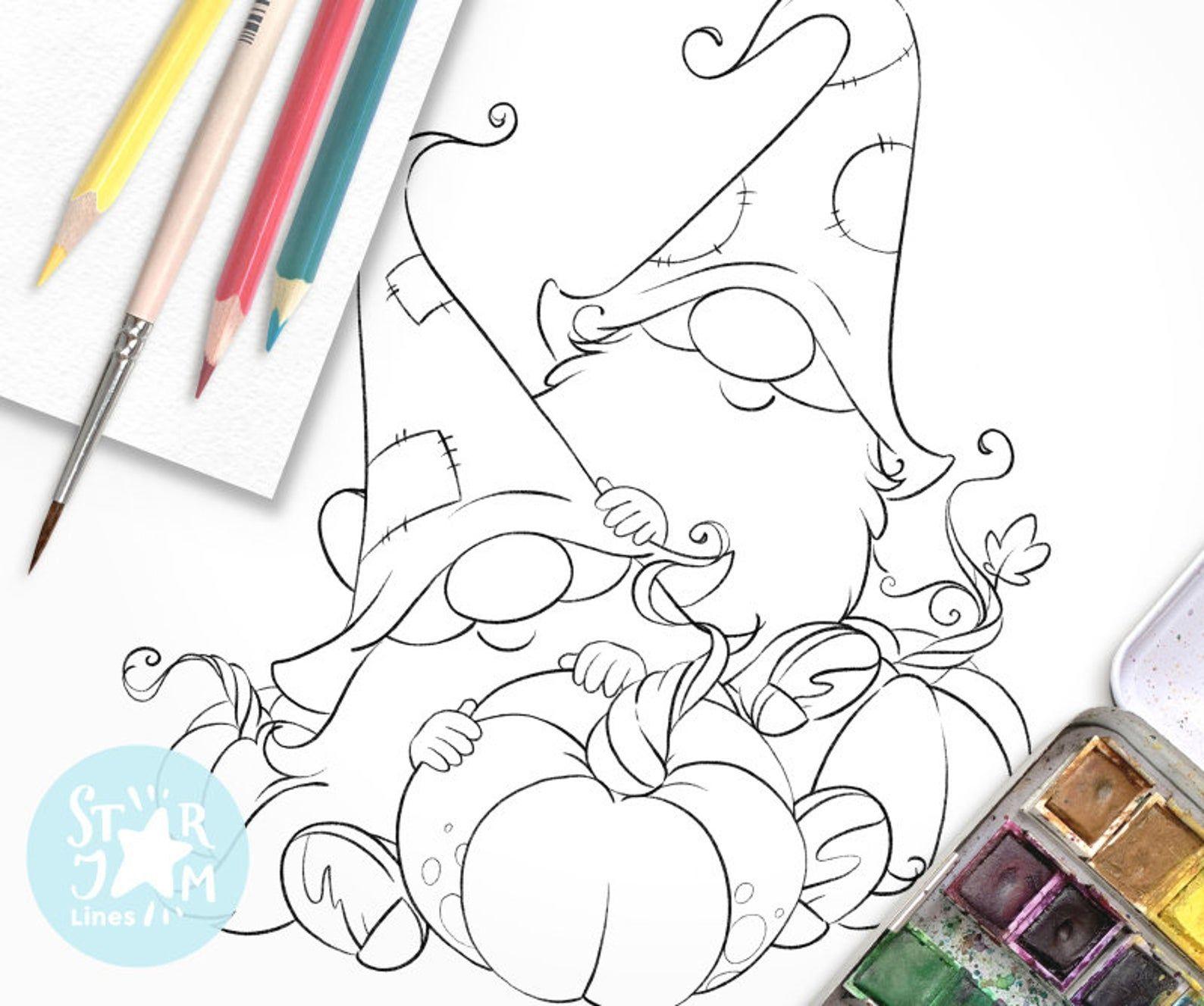 Gnomes and Pumpkins. Digi Stamp, Harvest, Country, Farm