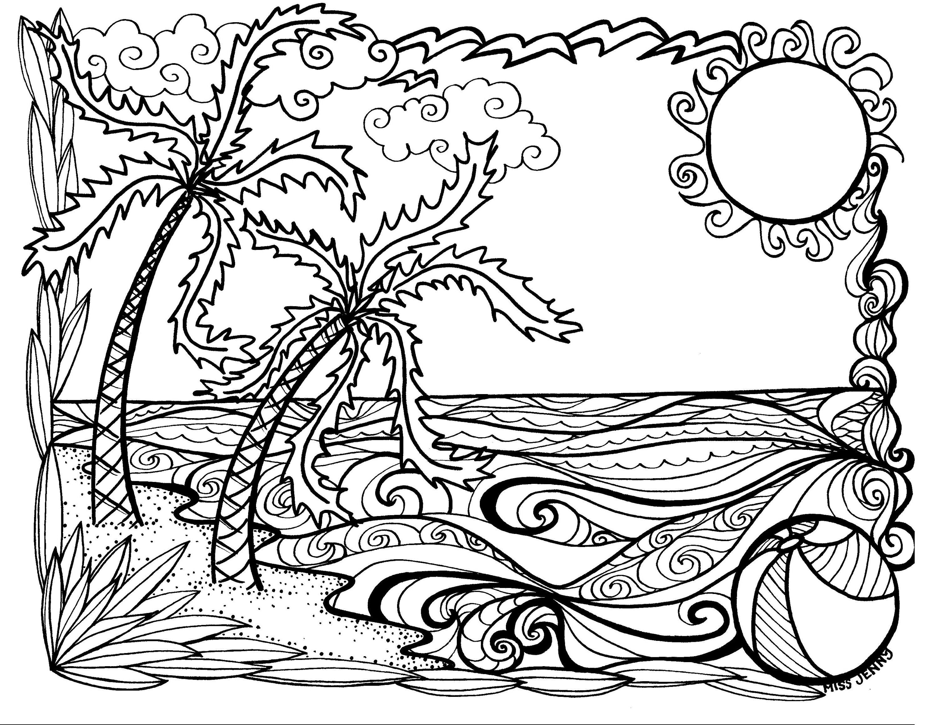 Summer Fun At The Beach Coloring Page By Missjennydesignsus On Etsy