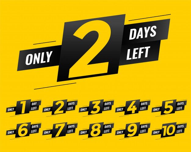Promotional number of days left sign ban  Premium Vector