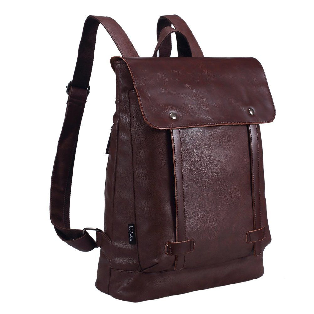 Amazon.com: Lalawow PU Leather Backpack Fashion Daypack 14 inch Laptop Bags for College Boys Girls (Black): Computers & Accessories