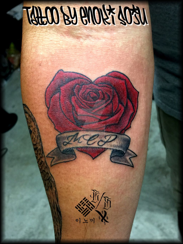 Heart Rose And Banner Tattoo By Enoki Soju By Enokisojudeviantart