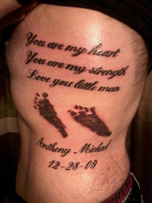 b735cee7e Memorial Tattoos for Baby Boy   Rib Side Memorial Foot Prints Tattoos