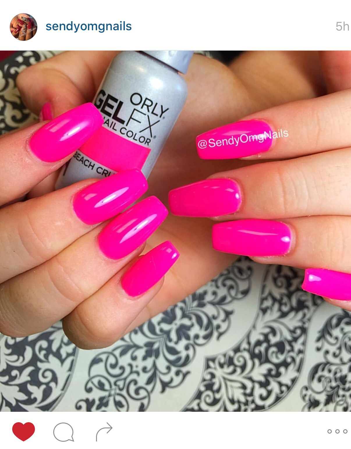 Hot neon pink coffin ballerina nails summer spring Valentine\'s Day ...