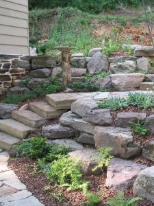 After Stone Patio And Steps Design By Pooles Stone Garden In