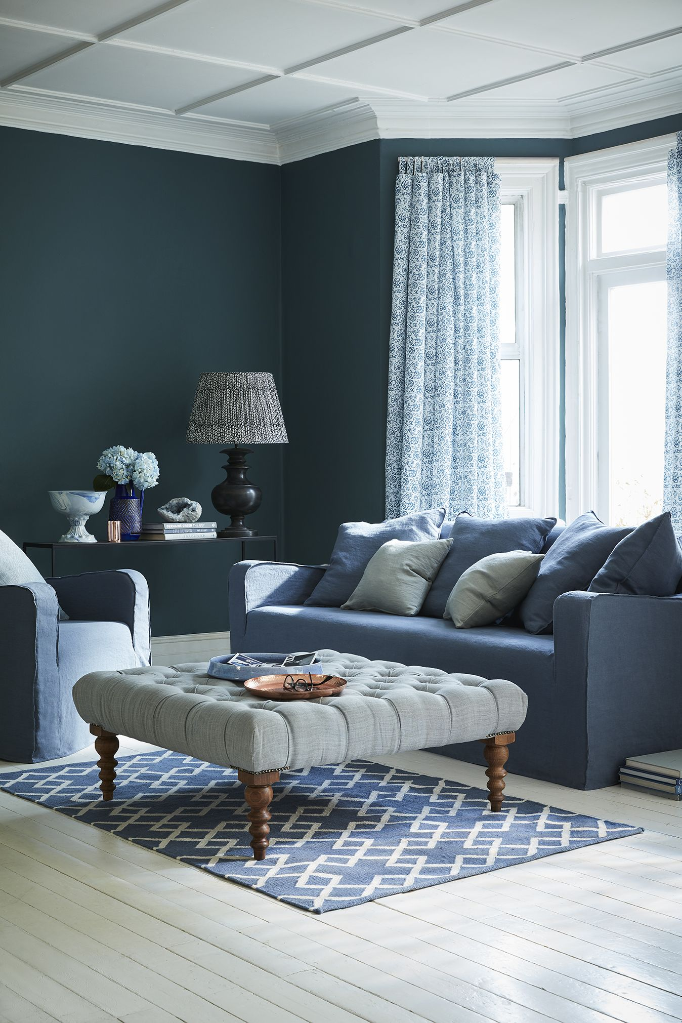 A Green Blue And Grey Colour Scheme For A Living Room It S A Darker Colour Palette For A Sitting Roo Living Room Color Schemes Living Room Colors Living Room