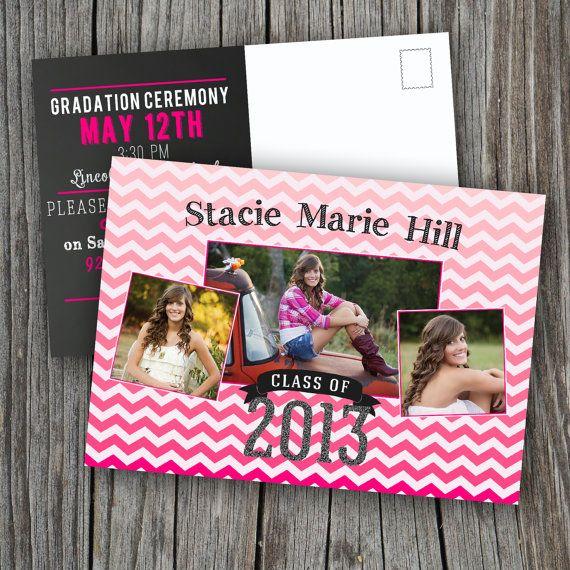 graduation invitation postcard printable custom by splashofsilver
