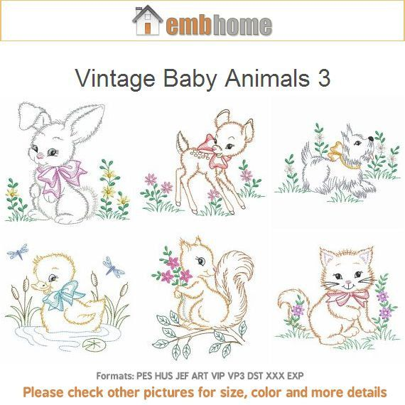Vintage Baby Animals 3 Machine Embroidery Designs Instant Download ...