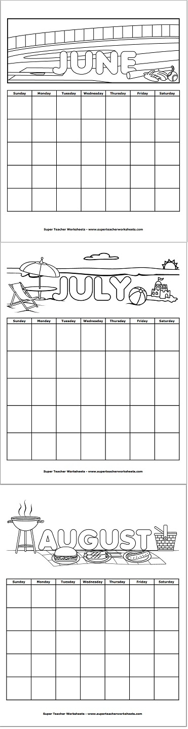 Printable summer month calendars from Super Teacher Worksheets ...