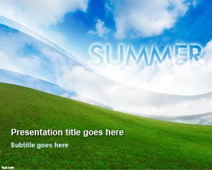 Summer PowerPoint Template with nice sky background design and green ...