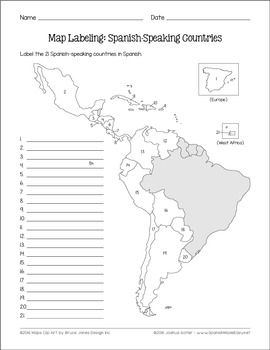 Map Of Spain For Classroom.Spanish Speaking Countries And Capitals Maps And Quiz Spanish