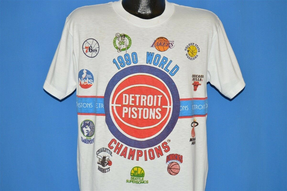 Vintage 90s Detroit Pistons 1990 World Champions Nba Basketball T Shirt Large L Ebay Nba T Shirts Detroit Pistons Nba Basketball