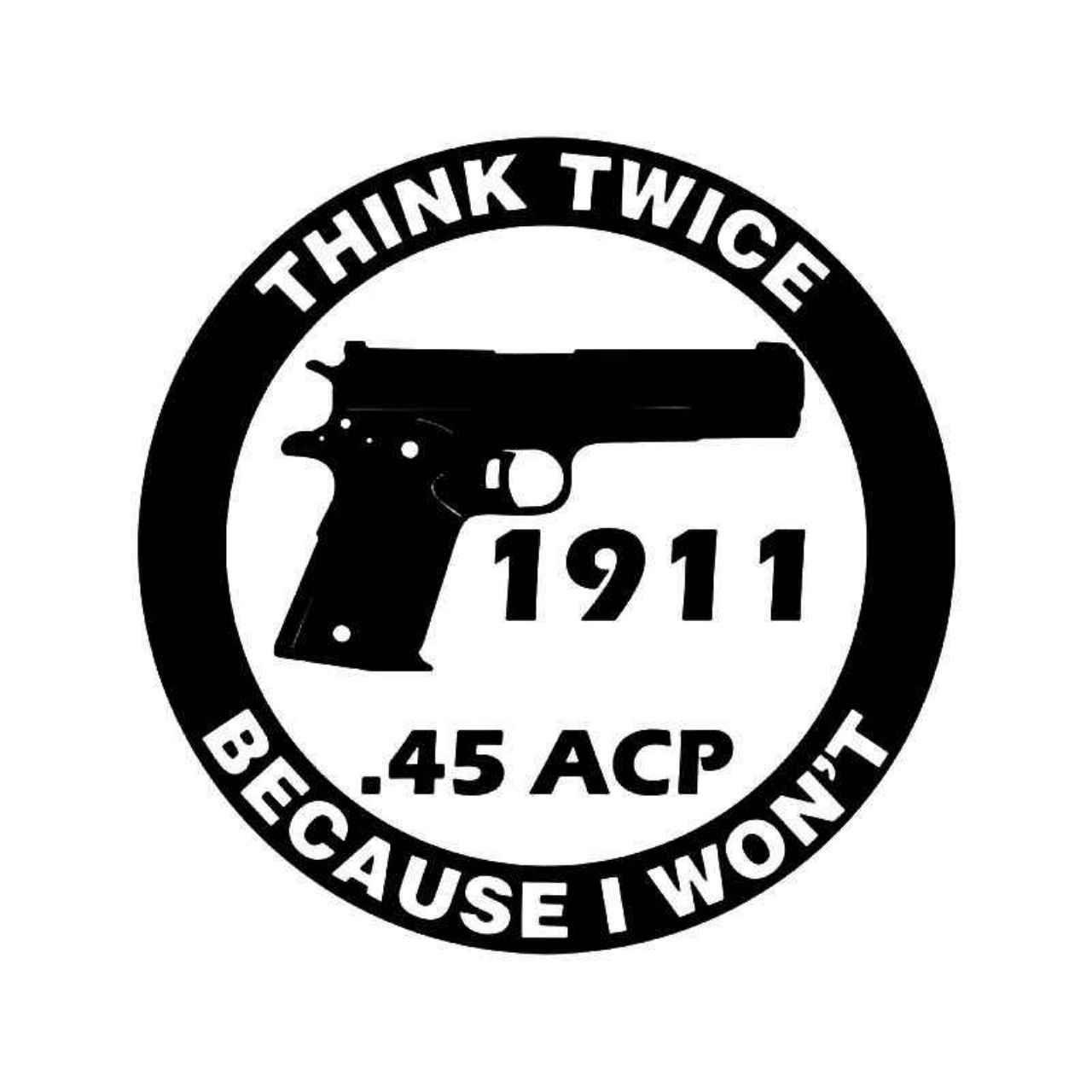 Warning Think Twice Handgun Gun Vinyl Decal Sticker Guns And - Custom gun barrel stickersgun decals shotgun barrel sticker shooting ammo decal
