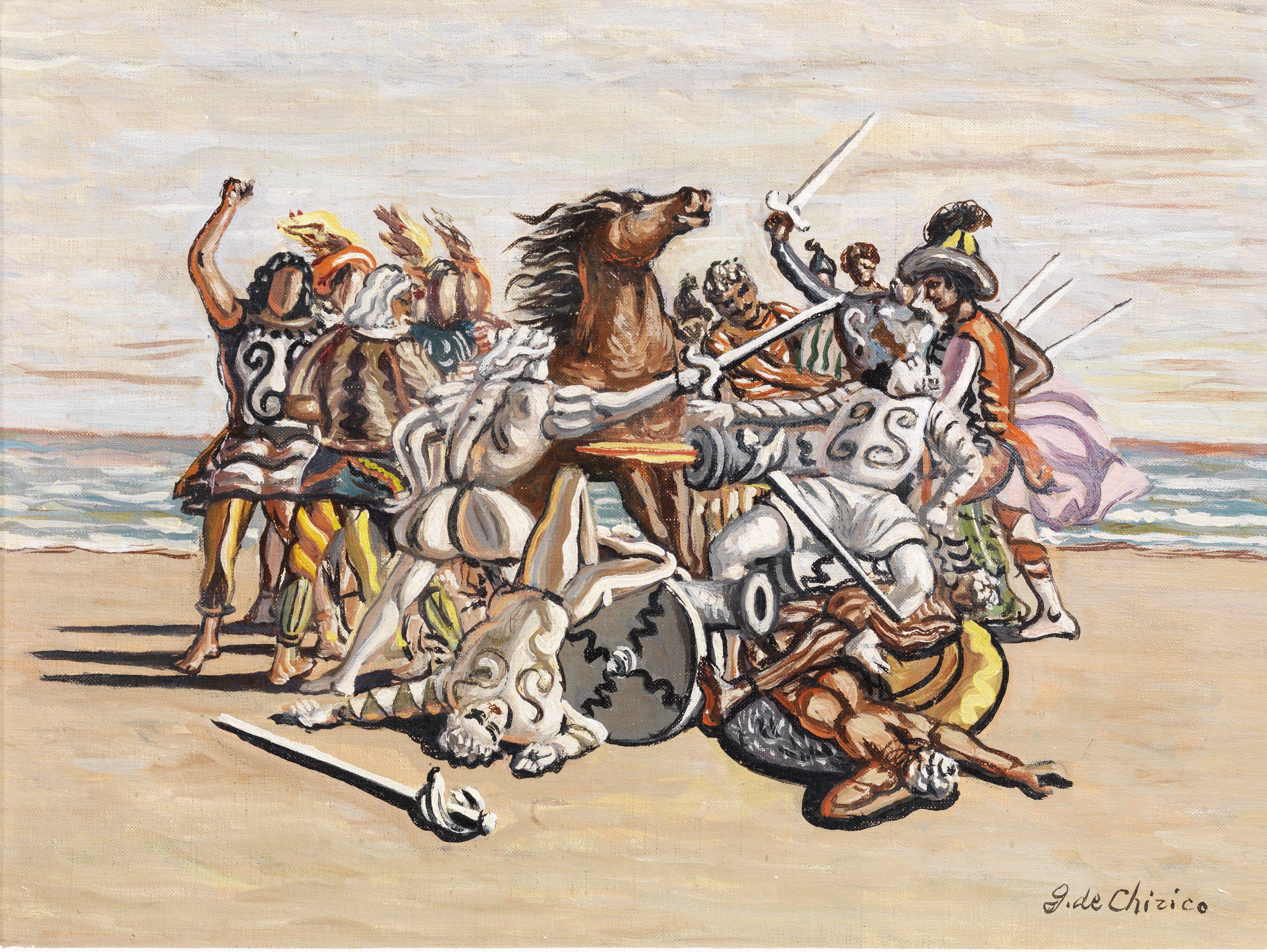 Giorgio de Chirico, Combattimento di puritani, 1933 ca. Courtesy Tornabuoni Art.