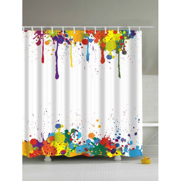 Colorful Paint Splatter Waterproof Bathroom Shower Curtain With