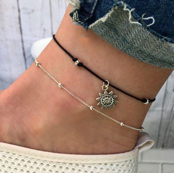 beach jewellery, sunflowe anklet sunflower ankle bracelet rose gold ankle bracelet anklet Rose gold anklet leaf boho anklet