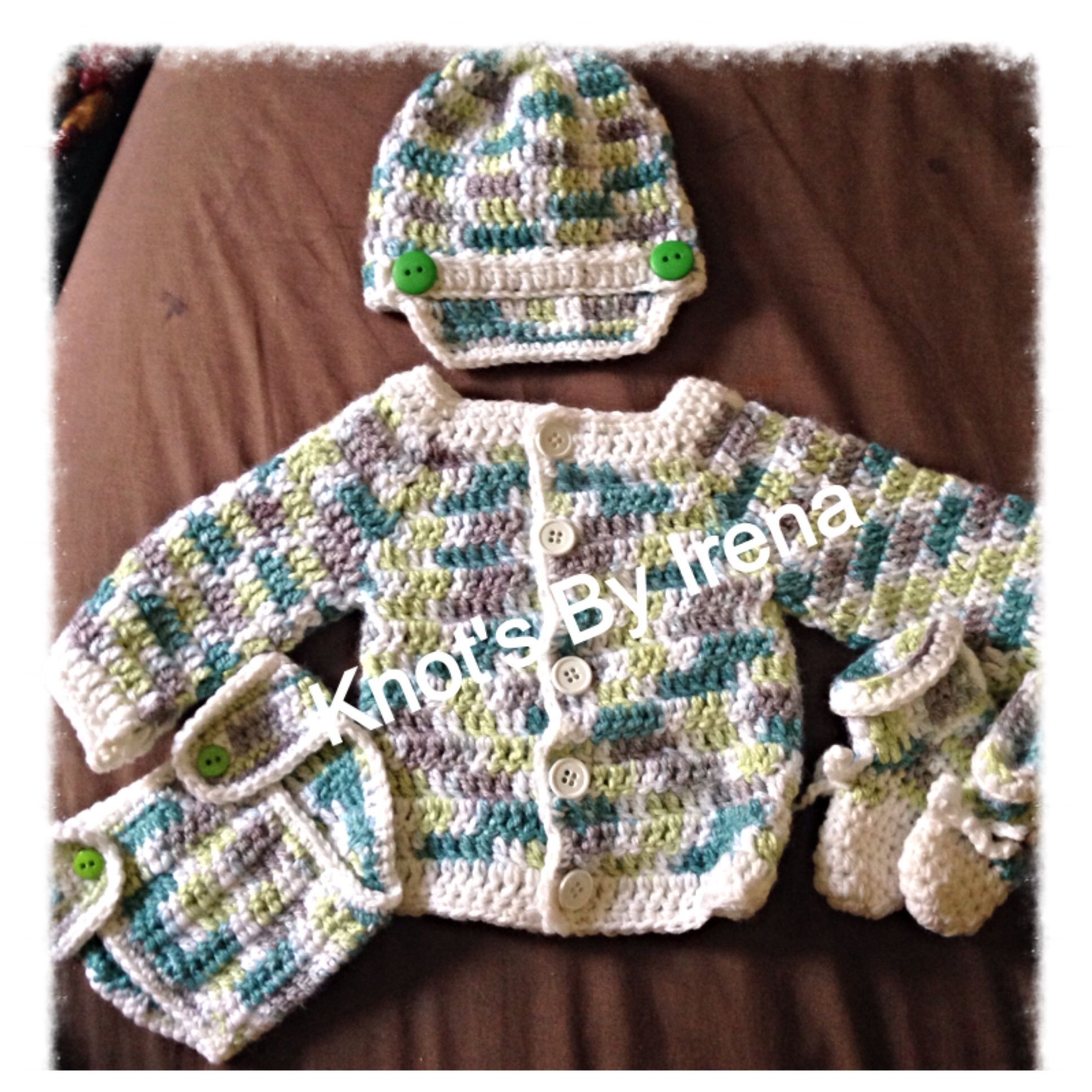 Baby sweater set www.facebook.com/crochetblanketsandclothes