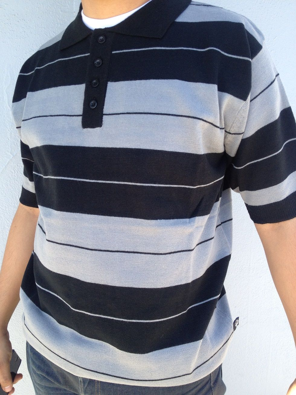 Black Gray Lowrider Charlie Brown Acrylic Knit Cholo Polo 426d74adfc